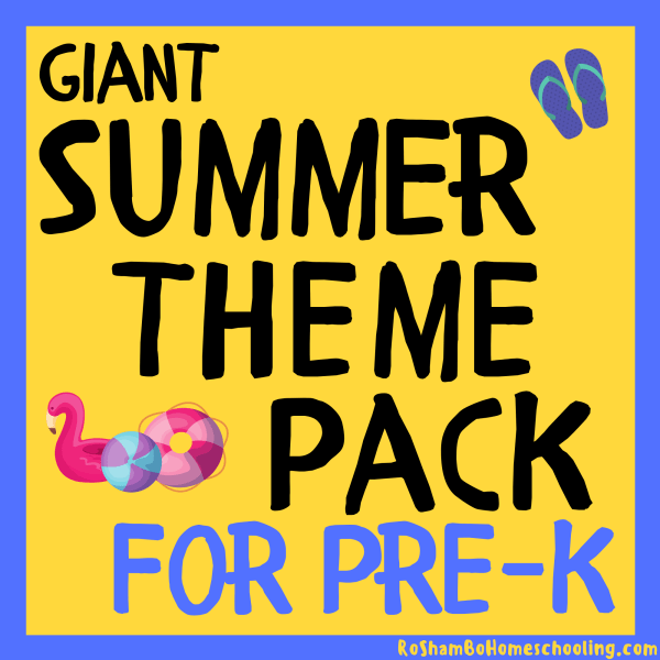 RoShamBo Homeschooling Summer Theme Pack promo showing several preschool printable worksheets with a summer theme
