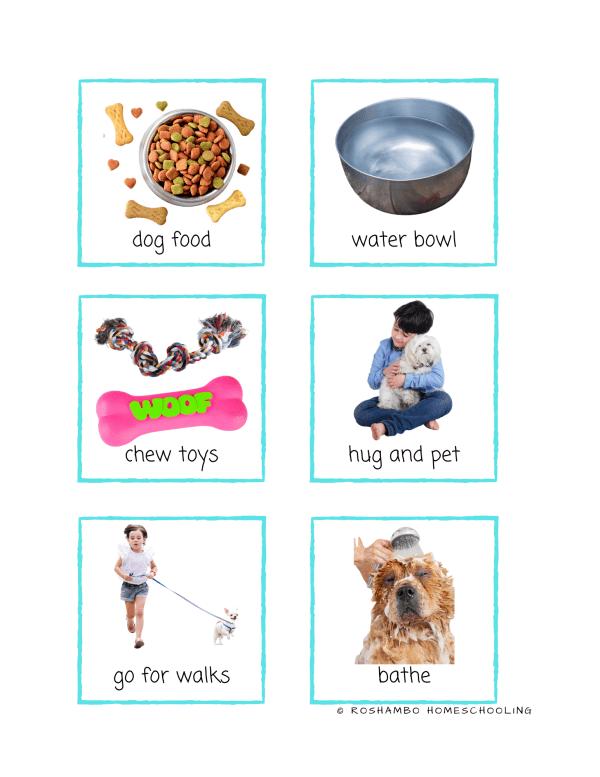RoShamBo Homeschooling printable pet care match up game