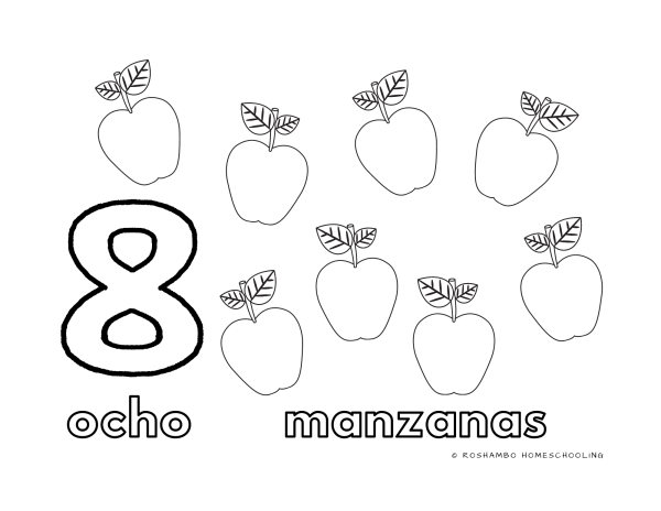RoShamBo Homeschooling coloring sheet with Spanish counting and a fall theme