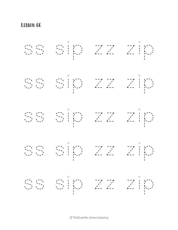 RoShamBo Homeschooling handwriting practice sample page