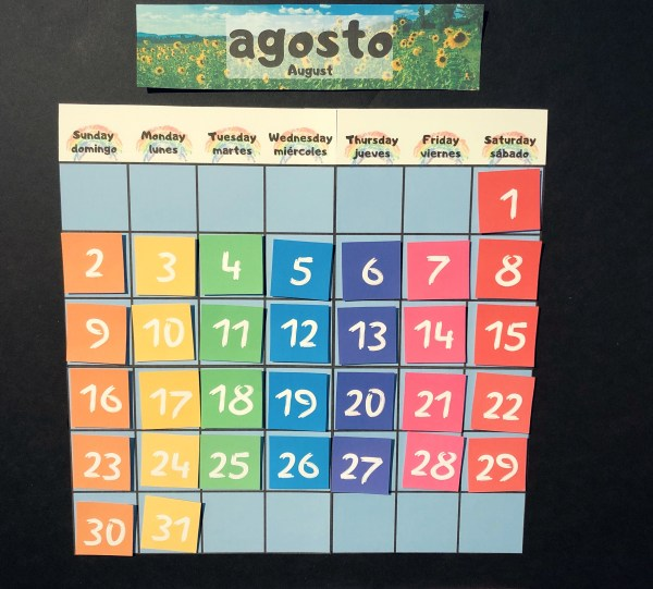 RoShamBo Homeschooling promo for a Circle Time Board in Spanish and English calendar