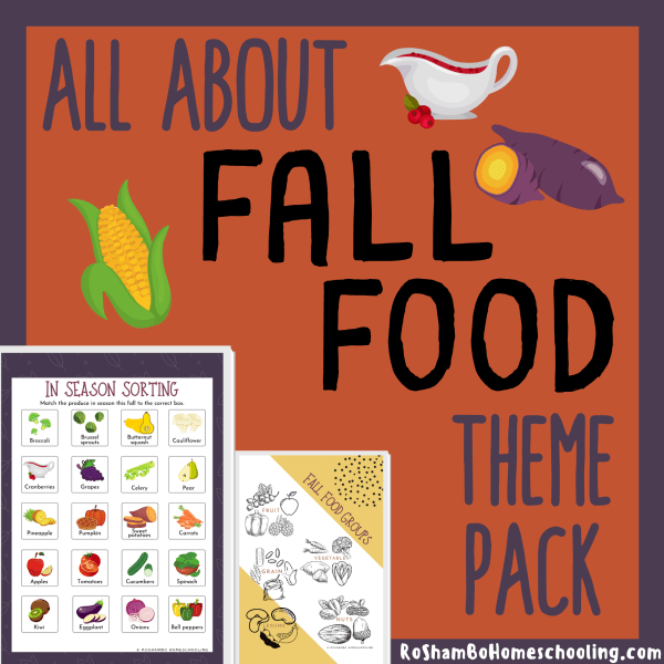 RoShamBo Homeschooling all about fall food theme pack for elementary school
