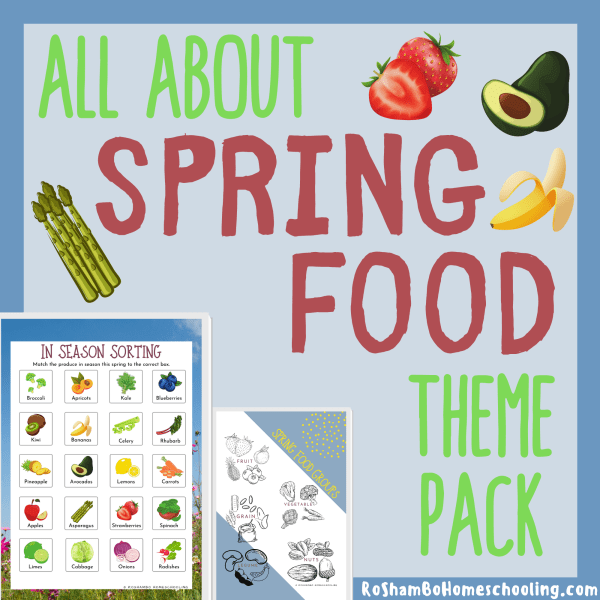 RoShamBo Homeschooling all about spring food theme pack for teaching in season produce