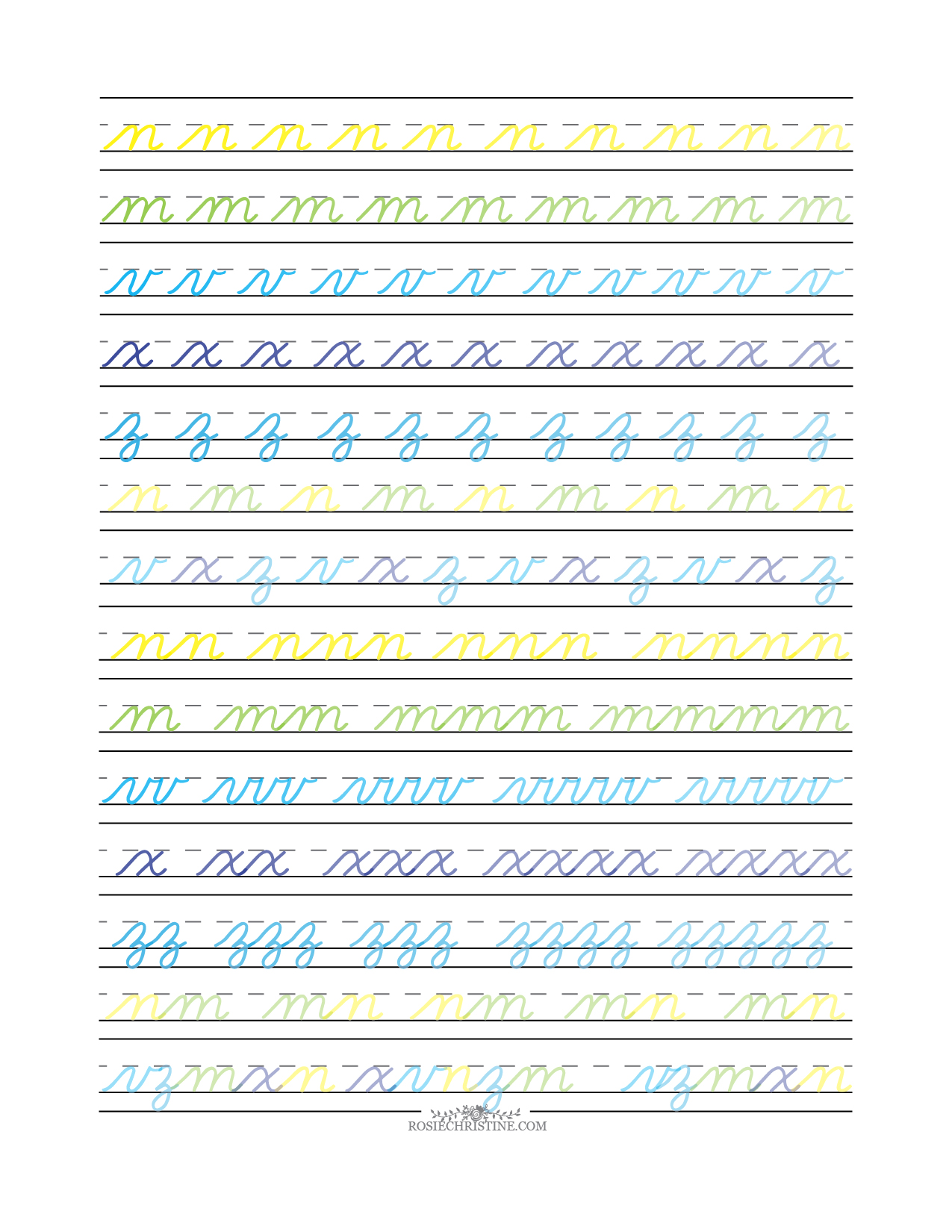 Cursive Lowercase Group 4 Advanced Worksheet Rosie