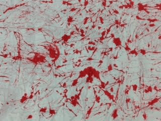 a close up of my folded up red ink drawing abstract.