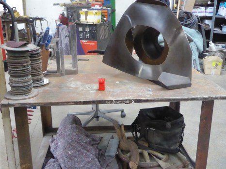 My red resin figure placed in the workshop