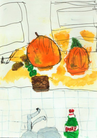 First Courgette Drawing/Painting of two courgettes and watching up liquid