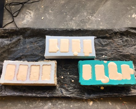 The plaster mixed up in my silicon moulds waiting to harden.