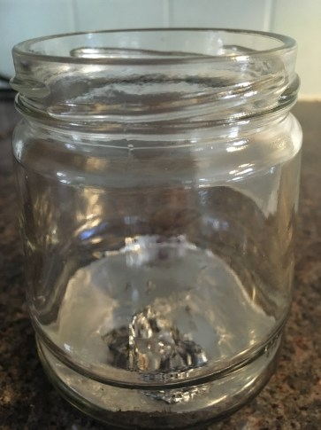 The leftover alloy metal in this jar stored.