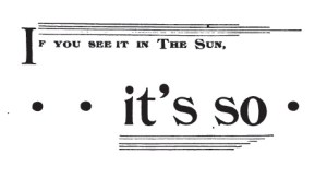 Sun Newspaper, New York ad 1892