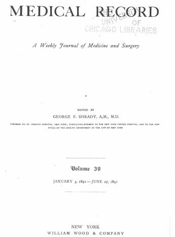 Medical Record 1891