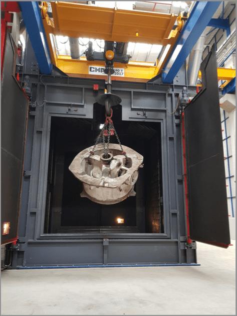 Rosler RHBE Batch Spinner Hanger Machine with heavy-duty crane