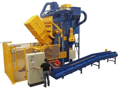 This RMBC Tumblast Machine from Rosler is equipped with a skip loader.