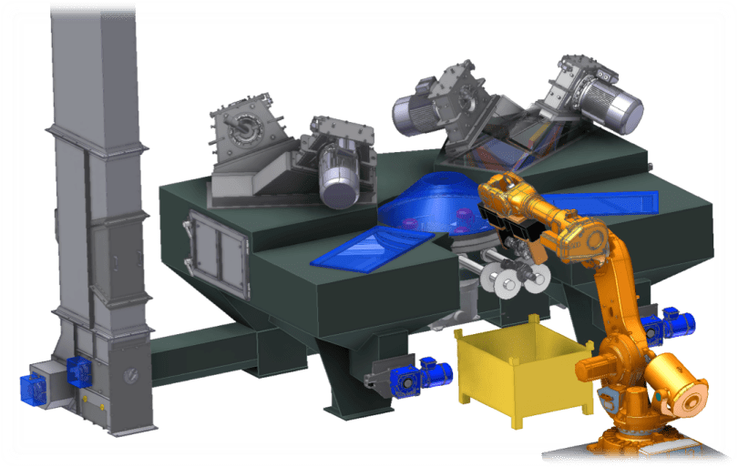 Rosler Automated RWKS 3 x 4 Cranksaft Blaster with robotic parts loading