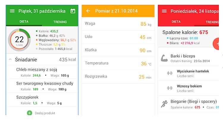 Dieta i trening - aplikacja
