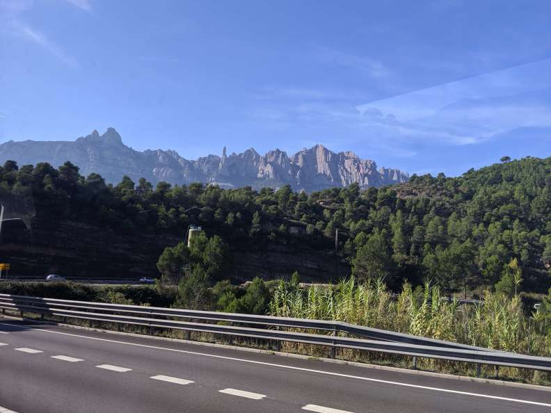 Montserrat mountain seen from the road