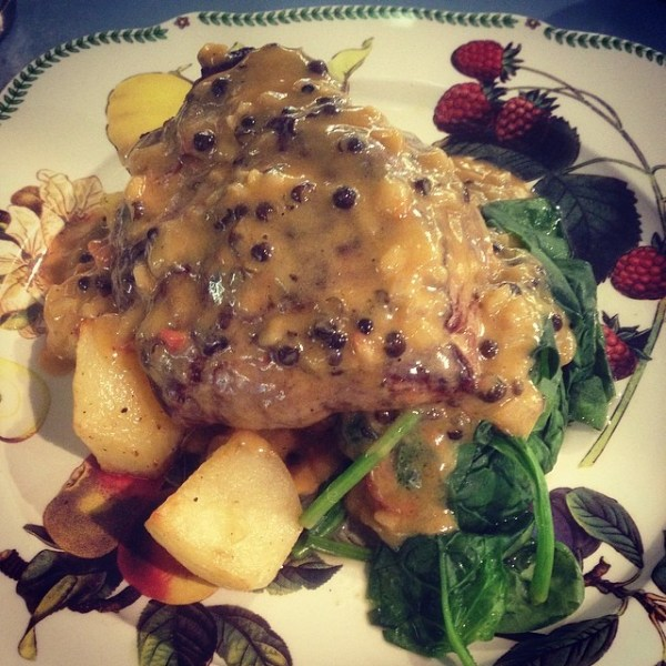 Eye Fillet w/brandy + pepper cream sauce + roast potato
