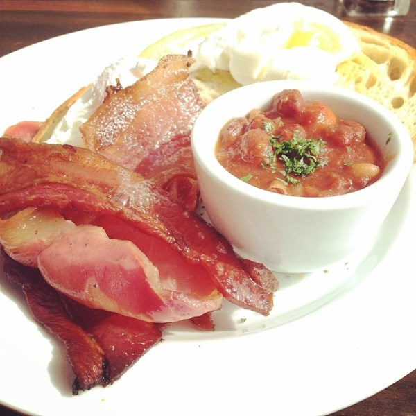 Poached eggs, free range bacon & house-made beans