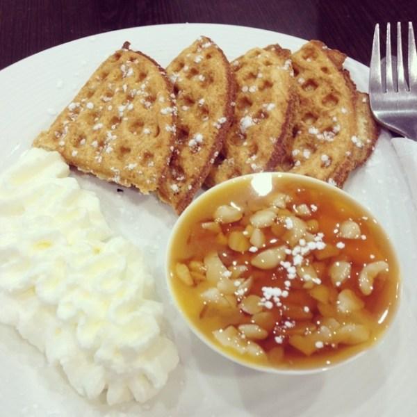 Mango, macadamia & honey waffles