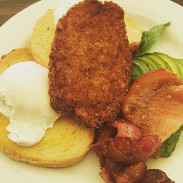 Two poached eggs, bacon, avocado & potato rosti