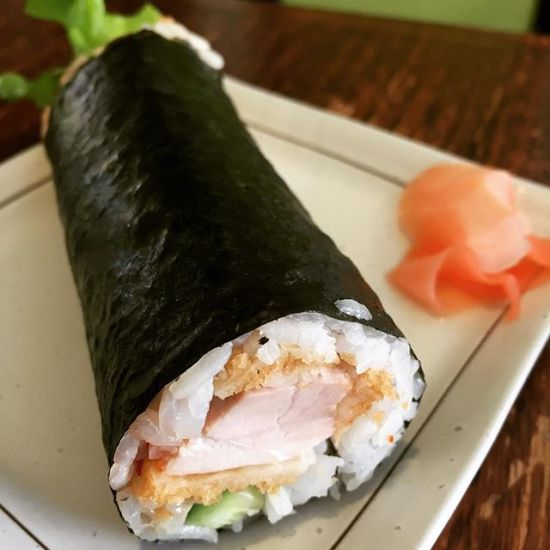 Chicken cutlet sushi roll