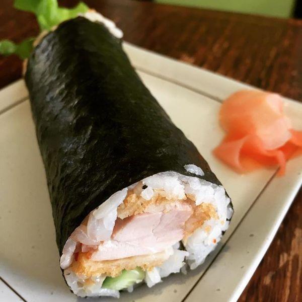 Chicken cutlet sushi roll