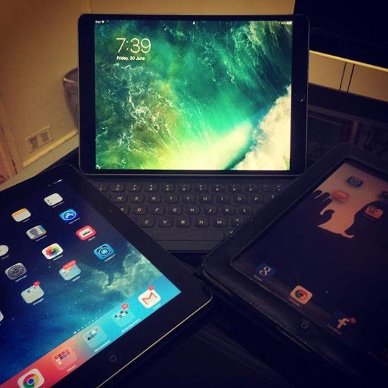 Three generations of active iPads... 2010, 2012 & 2017...