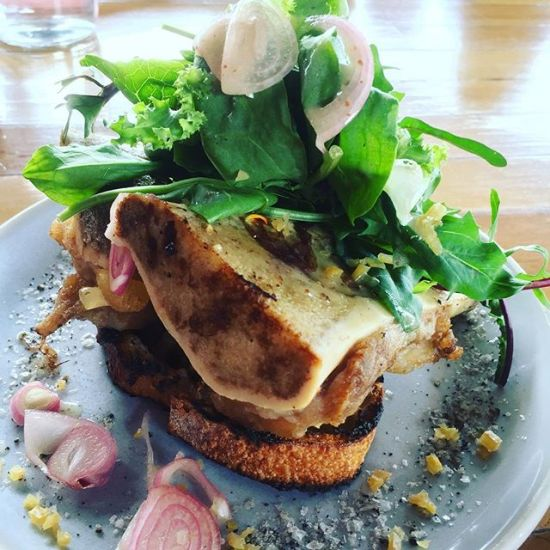 Roasted bone marrow, thyme, preserved lemon, herb salad & charred sourdough