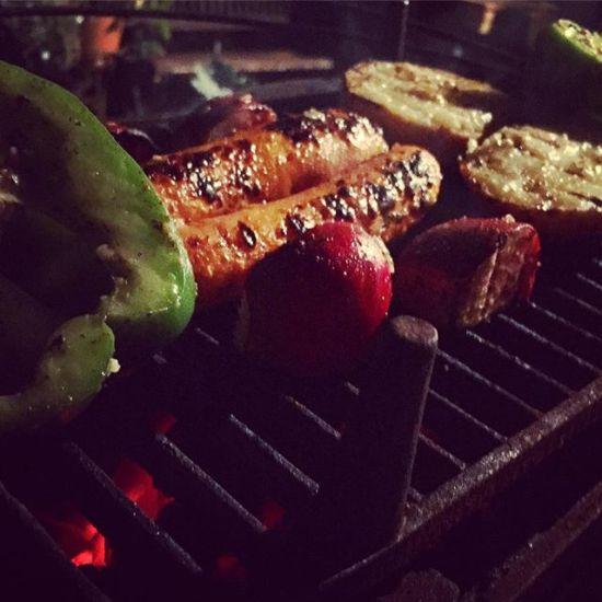 Hibachi grill BBQ veggies