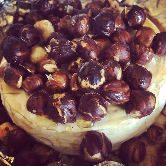 Baked Tasmanian Double-Brie with Hazelnuts & Manuka Honey