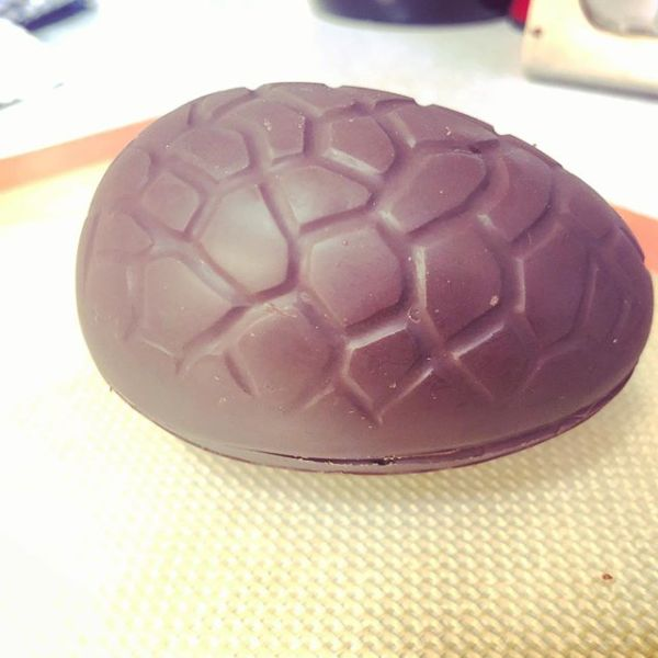 Homemade organic 70% cocoa dark chocolate Easter egg