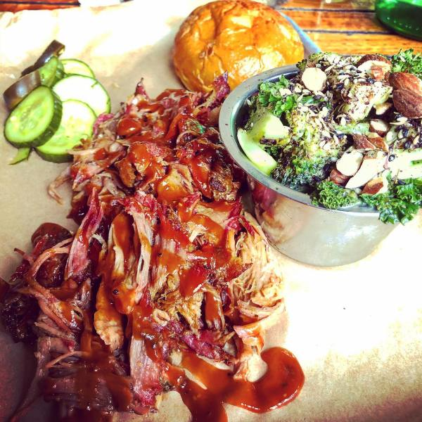 Pulled Pork Platter with Broccoli Salad @thestockpotkitchen