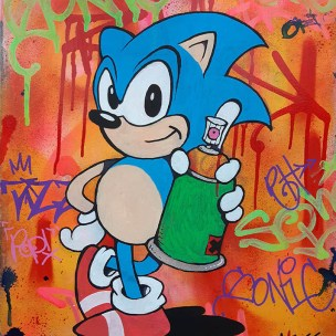 sonic the hedgehog graffiti pop art painting