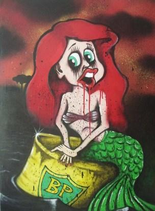 little mermaid bp oil spill graffiti