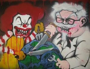 ronald mcdonald colonel sanders evil kfc mcdonalds gilray plumb pudding