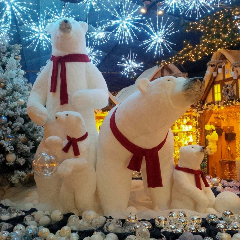 A Christmas display of polar bears - Vicenza, Italy - rossiwrites.com