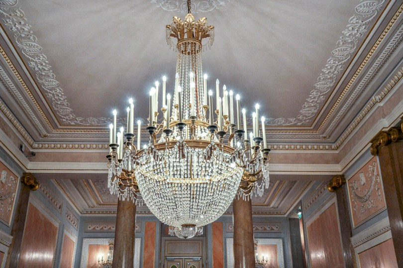 A crystal chandelier - La Fenice Opera House in Venice, Italy - www.rossiwrites.com