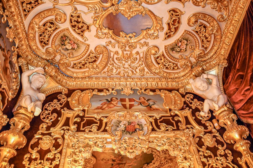Above the mirror inside the Imperial Box - La Fenice Opera House in Venice, Italy - www.rossiwrites.com