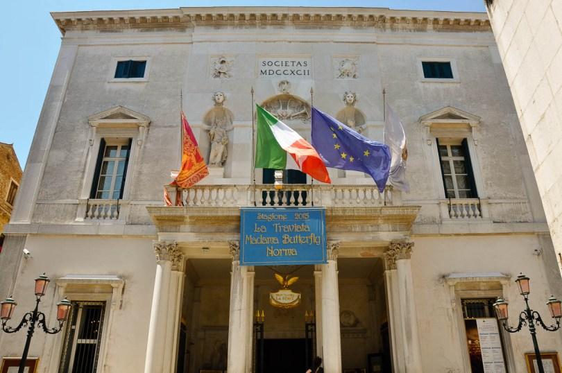 The facade - La Fenice Opera House in Venice, Italy - rossiwrites.com