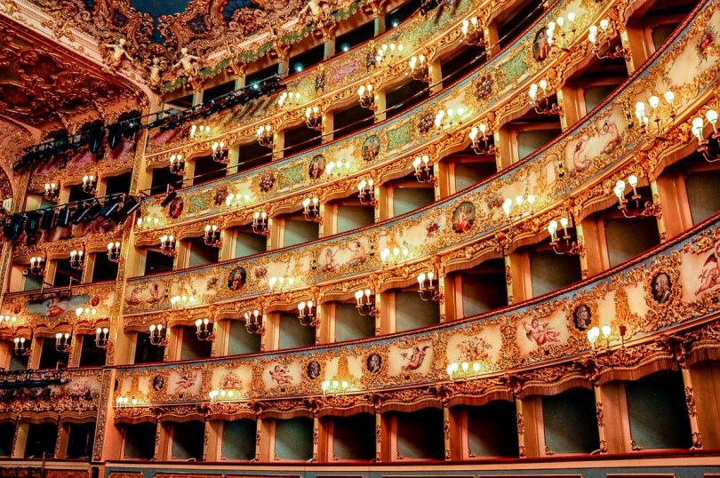 The guilded and frescoed boxes - La Fenice Opera House in Venice, Italy - www.rossiwrites.com