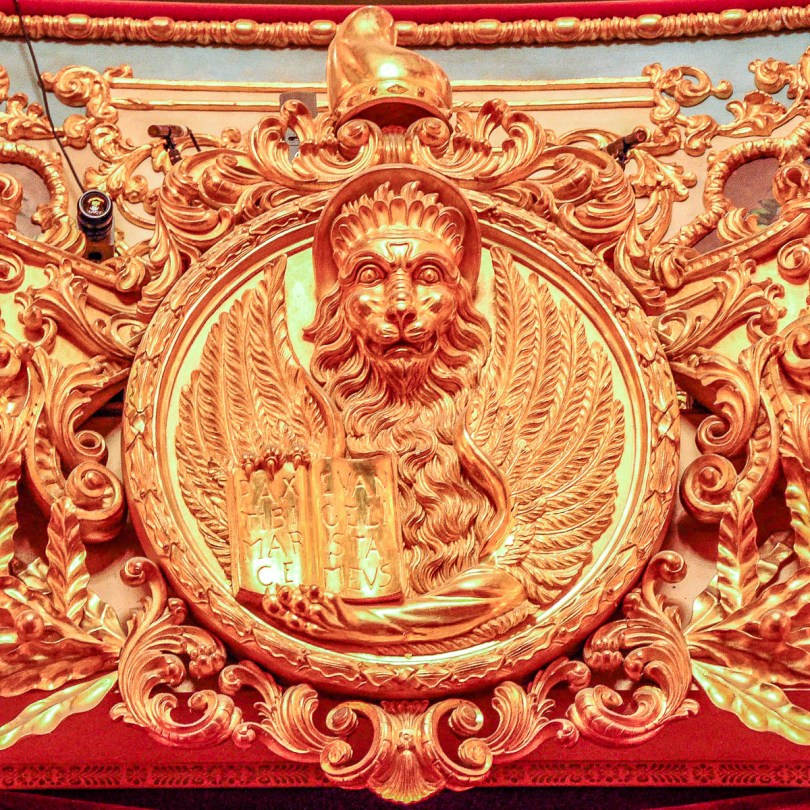 The lion above the Imperial Box - La Fenice Opera House in Venice, Italy - www.rossiwrites.com