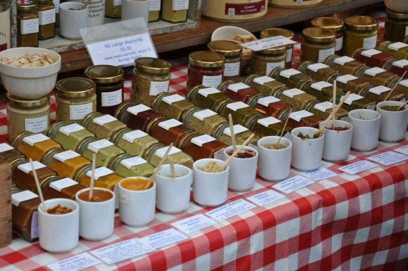 A stall with colourful dips at Borough Market - London, England - www.rossiwrites.com