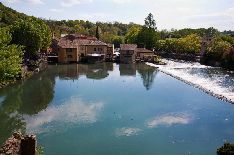 Borghetto sul Mincio seen from the Visconti bridge, Italy