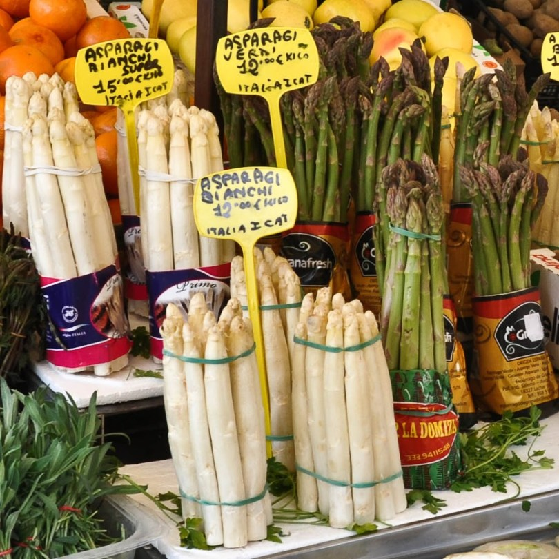 Stall with asparagus and other vegetables - The Marketplace - Piazza delle Erbe - Padua, Italy www.rossiwrites.com