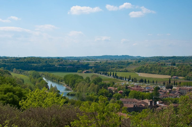 The river Mincio seen from the Scaligeri Castle, Valeggio sul Mincio, Italy