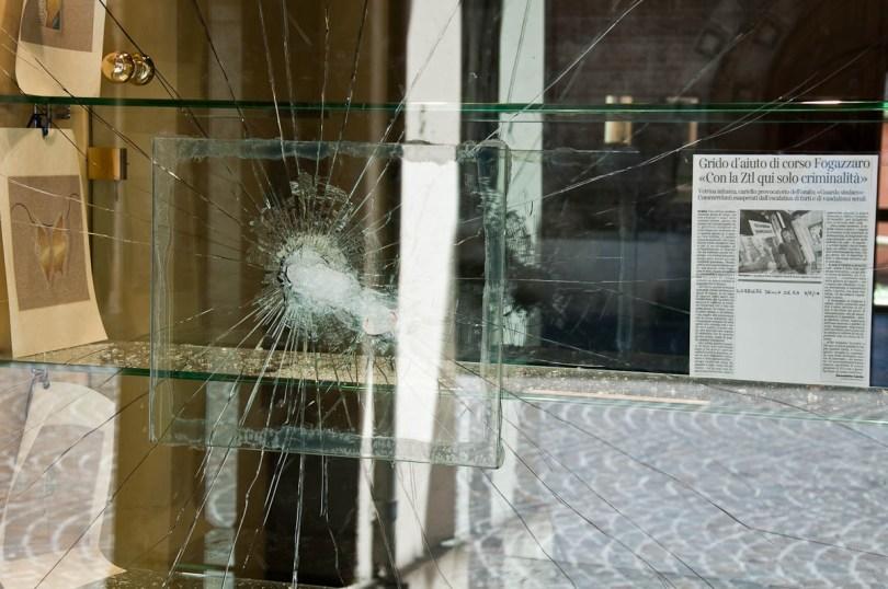 Broken jeweller's window on Corso Fogazzaro, Vicenza, Italy