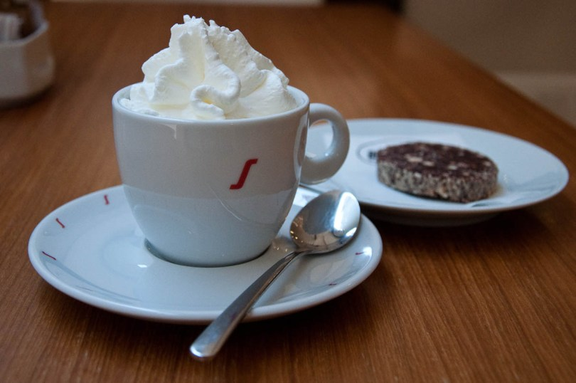 Coffee with whipped cream and chocolate salami, La Triestina Coffee House, Vicenza, Italy - www.rossiwrites.com