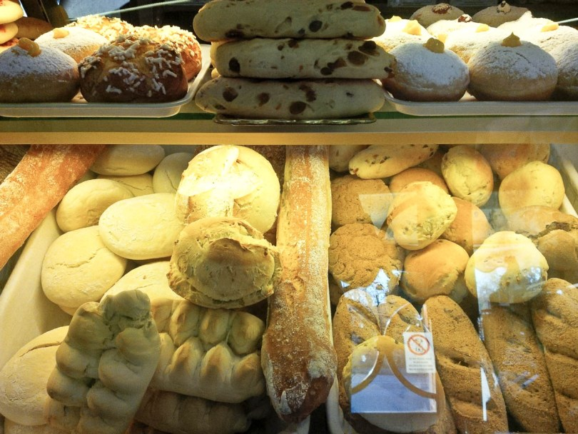 Display with different types of bread, Local bakery, Vicenza, Italy