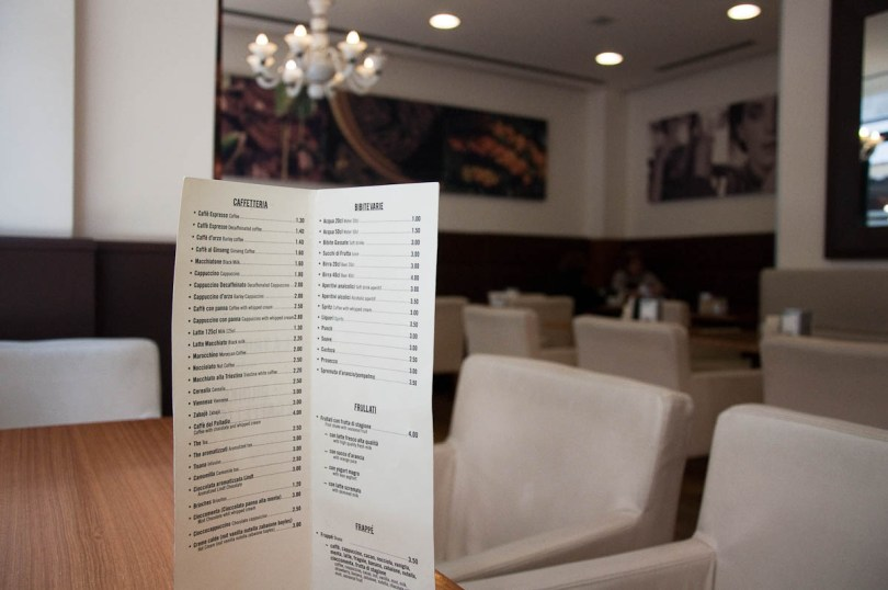 Menu and seating area, La Triestina Coffee House, Vicenza, Italy - www.rossiwrites.com