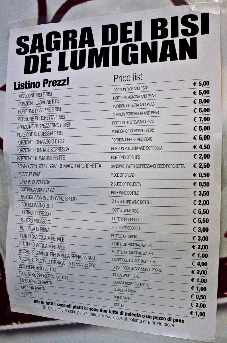 The menu, Pea Festival, Sagra dei Bisi, Lumignano, Veneto, Italy - www.rossiwrites.com